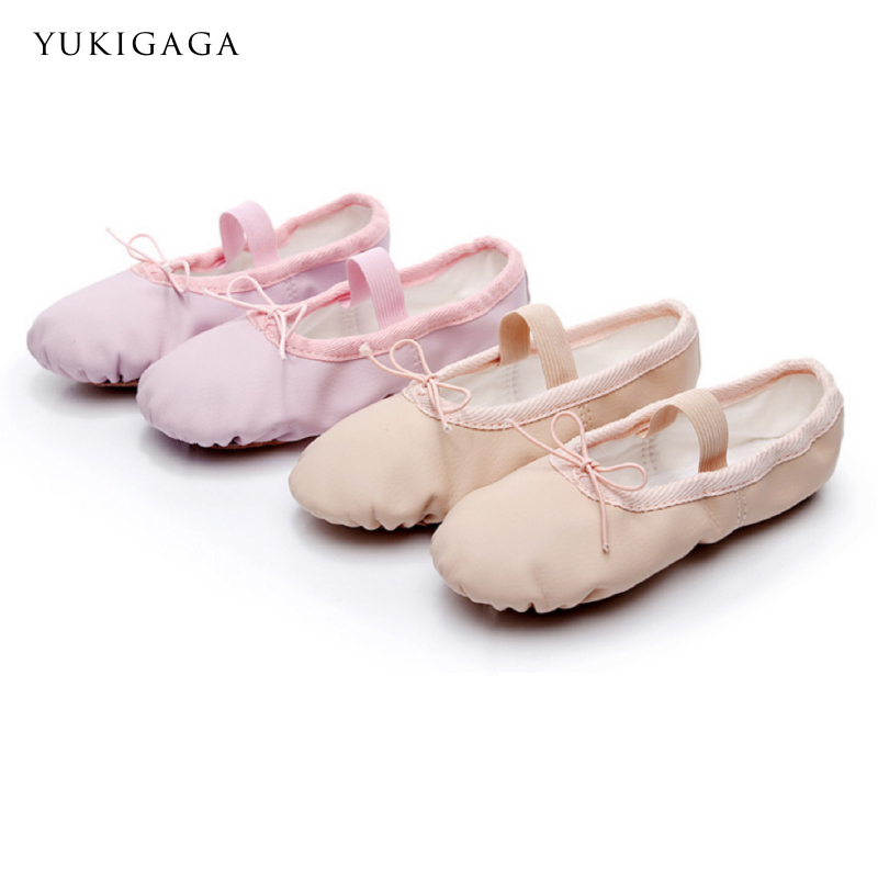 Cow Leather Ballet Shoes Girls Split Leather Sole Toddler Children Ballet Slippers Soft Gymnastics Dance Shoes