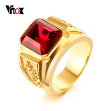 Vnox Punk Dragon Ring for Men Red Blue Black CZ Stone Stainless Steel Gold Color Male Alliance Casual Jewelry(China)