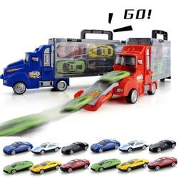 12 sztuk/zestaw odlewane samochody metalowy Model z dużą ciężarówką samochodziki zabawkowe dla dzieci Hot Wheels Car Container Carrier Boys Birthday Gift
