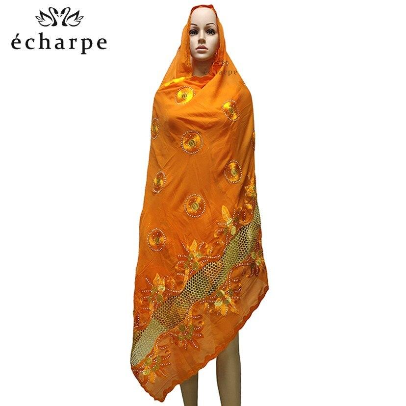 Image 5 - Последний Африканский мусульманский вышитый женский хлопковый  шарф, красивый и экономичный хлопковый большой женский шарф для шали  EC199Мусульманская одежда