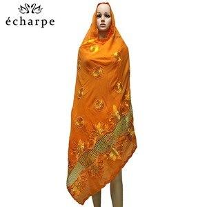 Image 5 - Новейший африканский мусульманский вышитый женский хлопковый шарф, красивый и экономичный хлопковый большой женский шарф для шалей EC199