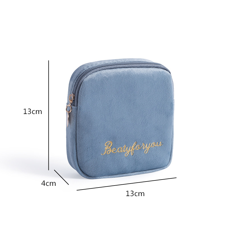 DOOZEEPA Women Velvet Makeup Bag Girls Lipstick Organizer Cosmetic Bag Make up Package Pouch Sanitary Pads Toiletry Storage Bag