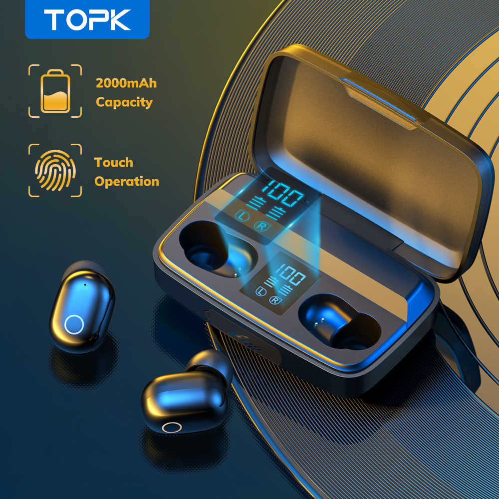 TOPK TWS Bluetooth V5.0 Headphone Nirkabel Sidik Jari Touch Bluetooth Earphone 2000M Ah Pengisian Kotak Olahraga Tahan Air Earbud