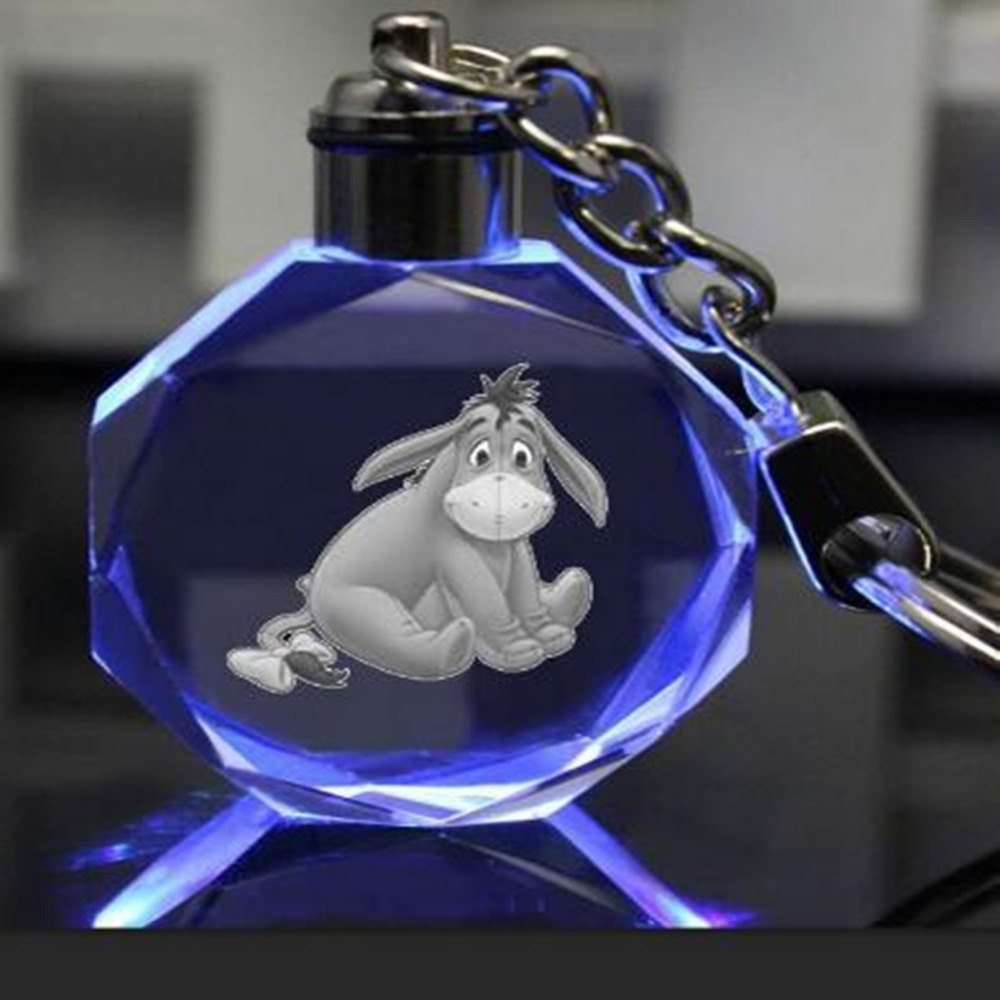 Anime Cartoon Eeyore Key Chain LED Cosplay  Donkey Animal Cute Personalized Car Pendant Women Children Llavero Sleutelhangers