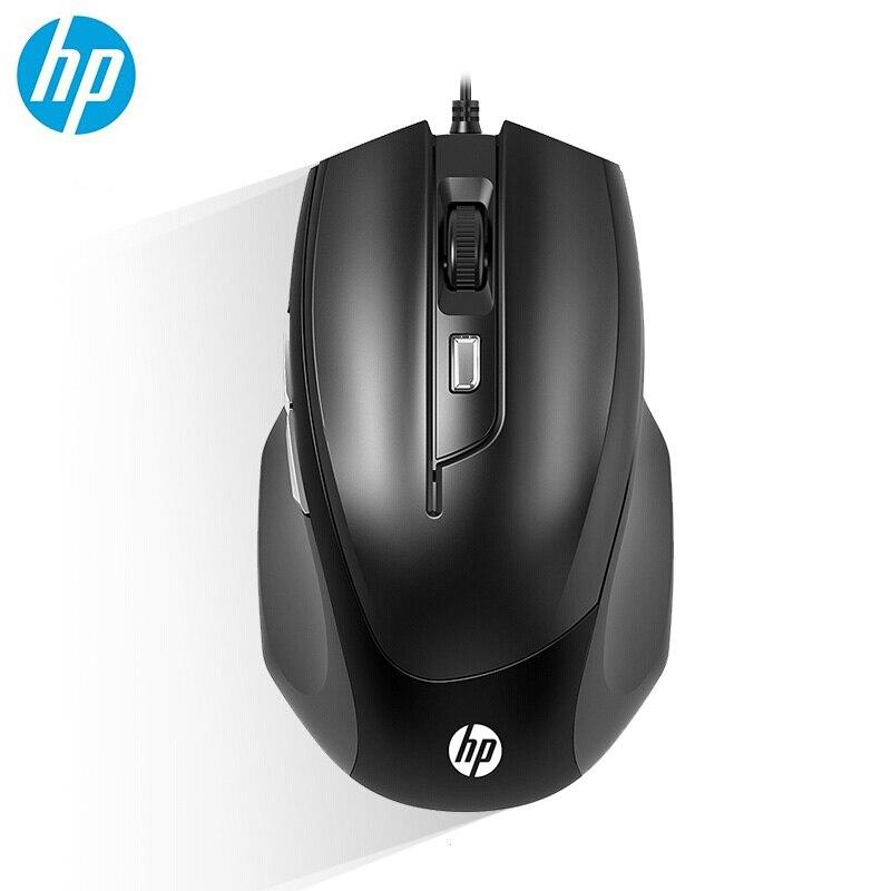 Проводная игровая мышь HP M150, 1000 и 1600 DPI, USB Игровые мыши для ноутбука, компьютера, оптическая черная портативная мини-мышь
