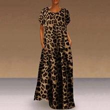 Leopardo Impresión de grano vestido de mujer diario pantalón corto Casual manga O cuello vestido Vestidos Largos de Verano de talla grande Vestidos para las mujeres
