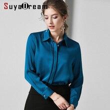 SuyaDream Women Solid Blouses 100% Silk Satin 2020 Spring Turn Down Collar Long