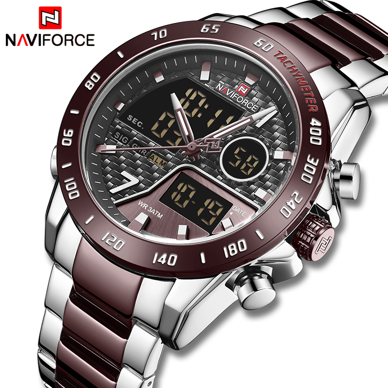 NAVIFORCE New Men Watch Top Luxury Brand Men's Waterproof Sport Watches Quartz Analog Digital Wristwatch Clock Relogio Masculino