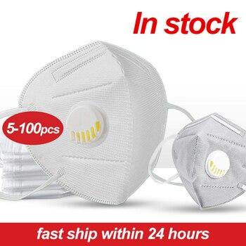 Commercio all'ingrosso 5-100pcs Usa E Getta Maschera Respiratore Foschia Valvola a Prova di Viso Maschere Respiratore Bocca A Prova di Polvere Maschera Maschera di Polvere di Aria inquinamento 1