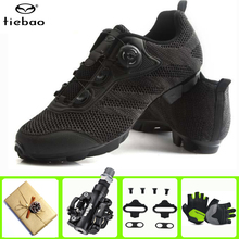 цена на Tiebao cycling shoes pedals set sapatilha ciclismo mtb mountain bike bicicleta men sneakers women outdoor sport sport Shoes