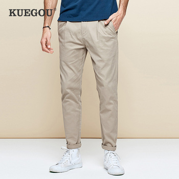 KUEGOU Cotton Spandex  men's casual pants Spring overalls slim type straight black trousers extension size AK-9792 - discount item  50% OFF Pants