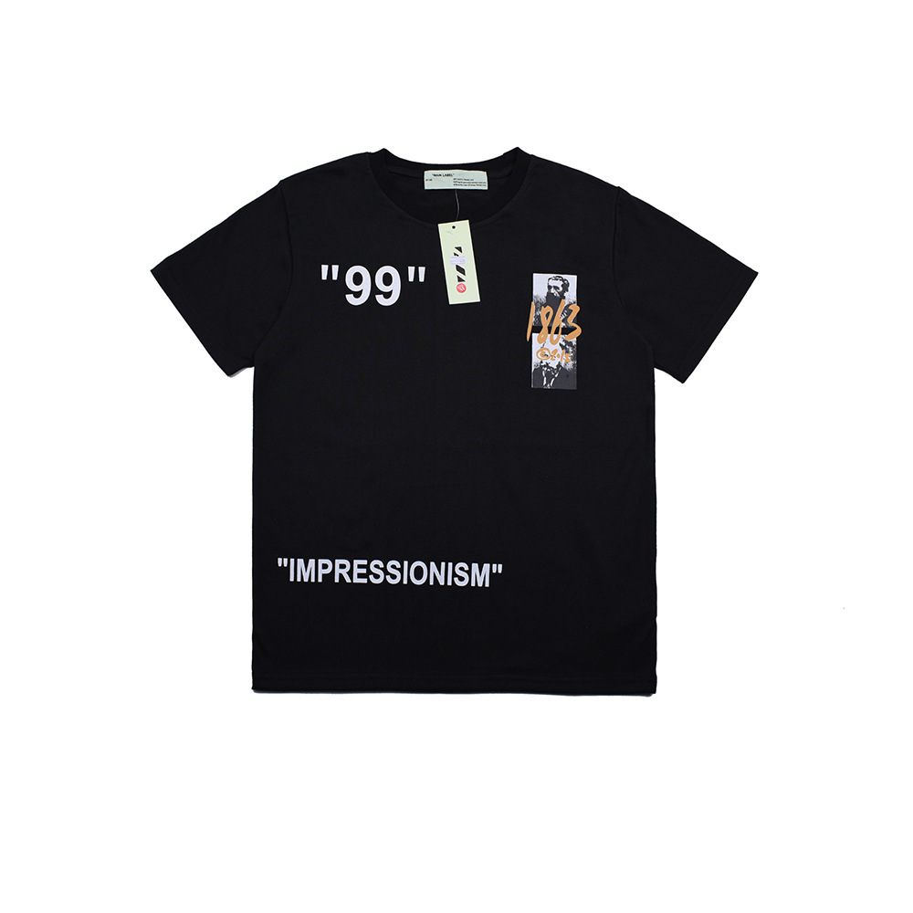 Ow Off White 19ss Impression Doctrine 99 Figure Graffiti Sketch Lettered Offset Printing Short Sleeve T-shirt Tee