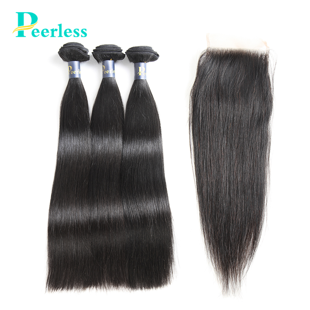PEERLESS Virgin Hair Brazilian Straight Weave 3 Bundles With Closure 4*4 Swiss Lace Natural Color Raw Human Hair Extensions