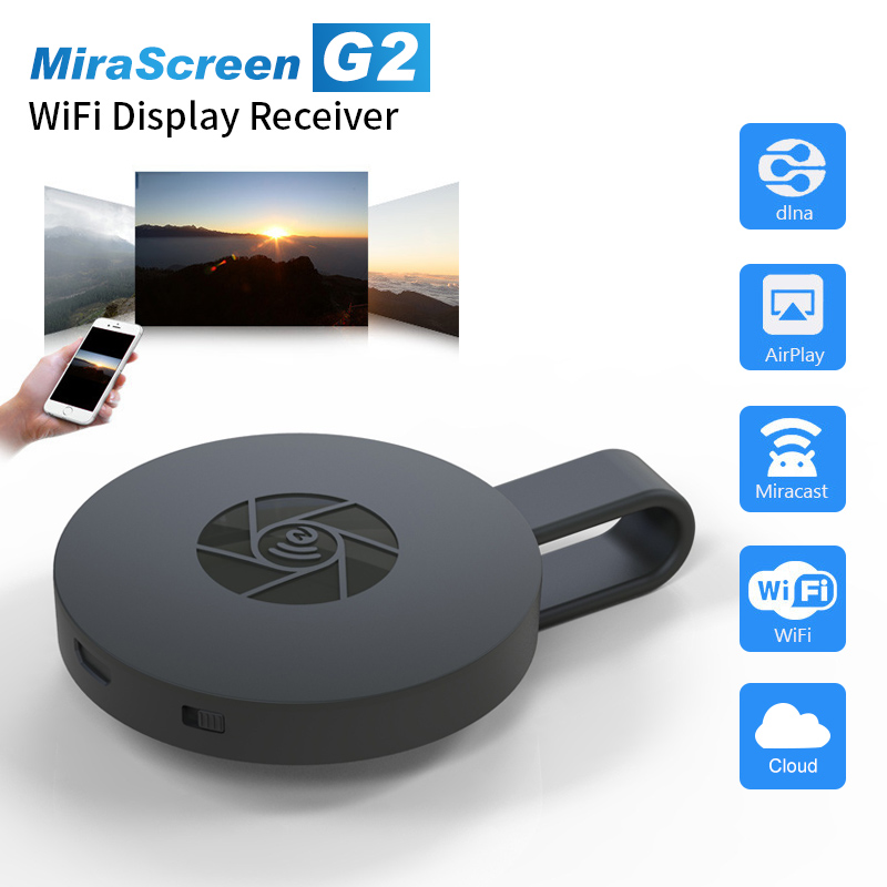 MiraScreen 1080P G2 TV Stick inalámbrico Chromecast Dongle HDMI con Miracast Airplay receptor 2,4G Wifi Dongle para Android Ios Altavoz multipunto 4,1 + EDR Kit manos libres Bluetooth inalámbrico para coche reproductor de música MP3 para IPhone Android