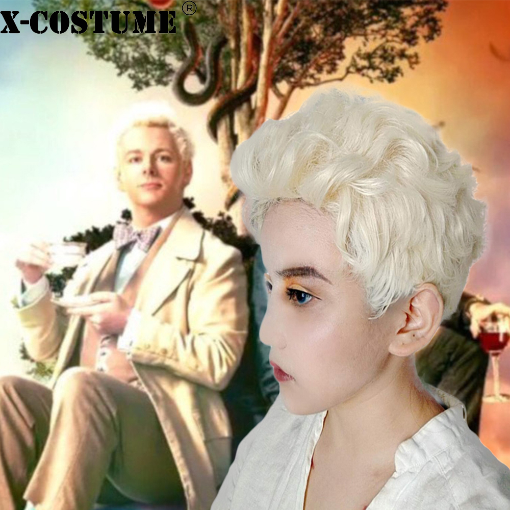 X-COSTUME Good Omens Angle Aziraphale Cosplay Wig Short Curly Hair Aziraphale Costume Accessories Halloween New Arrivals