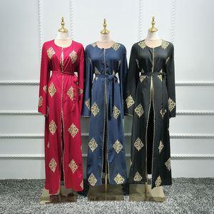 Image 5 - Dubai arap açık Abaya müslüman başörtüsü elbise kadınlar Kimono dantel Kaftan Abayas İslami giyim Kaftan Musulman Marocain uzun elbise
