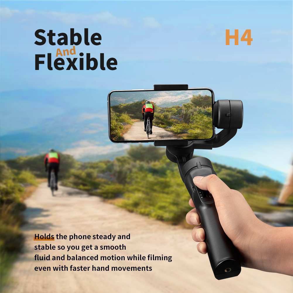 Smooth Smart Phone Stabilizing H4 Holder Handhold Gimbal Stabilizer for iPhone XS XR X 8Plus 8 7P 7 Samsung & Action Camera|Handheld Gimbal| |  - title=