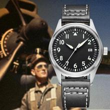 Pilot Watch Luxury 20Bar 200M Waterproof Leather Strap Men's
