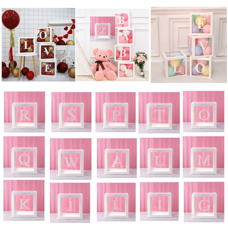 Letter A -Z Large Transparent Gift Boxes Personalised Cube Christmas Xmas 30cm Surprise Party Gift Box Debris Storage Box