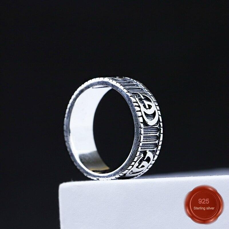 100% S925 argent sterling nouvelle tendance couple anneau rétro artisanat lettre motif personnalité conception mode simple cadeau offre spéciale 2019