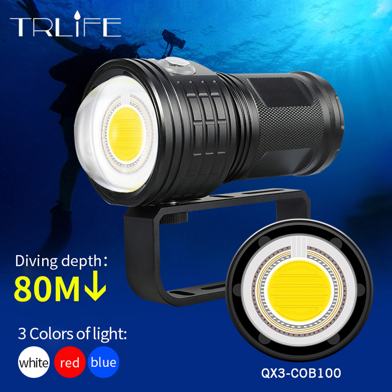 COB Underwater LED Dive Torch Light Ultra Bright Diving Flashlight Scuba 500M Waterproof Photography White Blue Red Use 18650