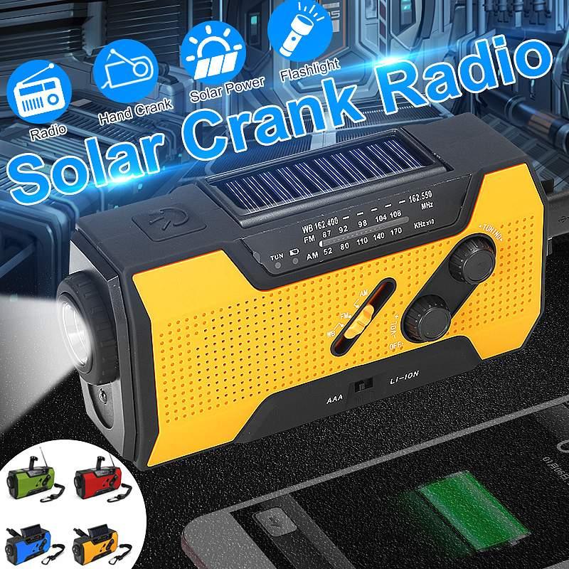 Solar Digital Crank Emergency AM/FM NOAA Weather Portable Radio WB Flashlight Solar Panel Flashlight Rechargeable Power