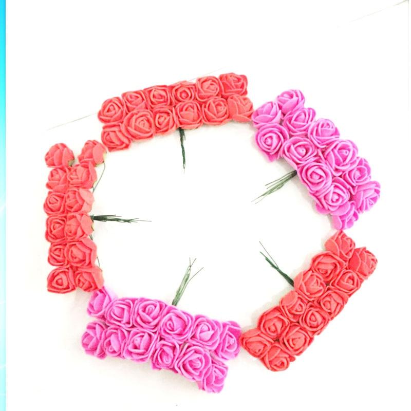 144pcs-bag-MINI-PE-Multicolor-fake-foam-rose-Artificial-flowers-cheap-christmas-wreath-decor-for-home(2)