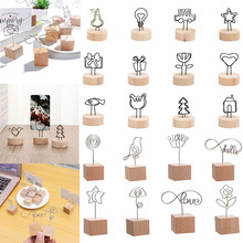 1PC New Creative Round Wooden Note Picture Frame Clip Table Number Wedding Photo Holder