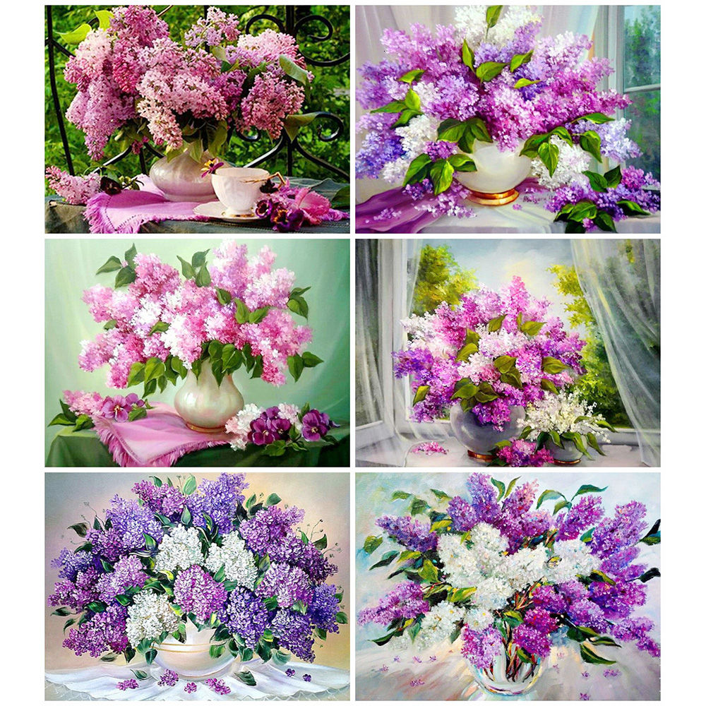 HUACAN 5d Diamond Painting Flowers Full Drill Square Diamond Embroidery Purple Lavender Picture Of Rhinestones Home Decoration