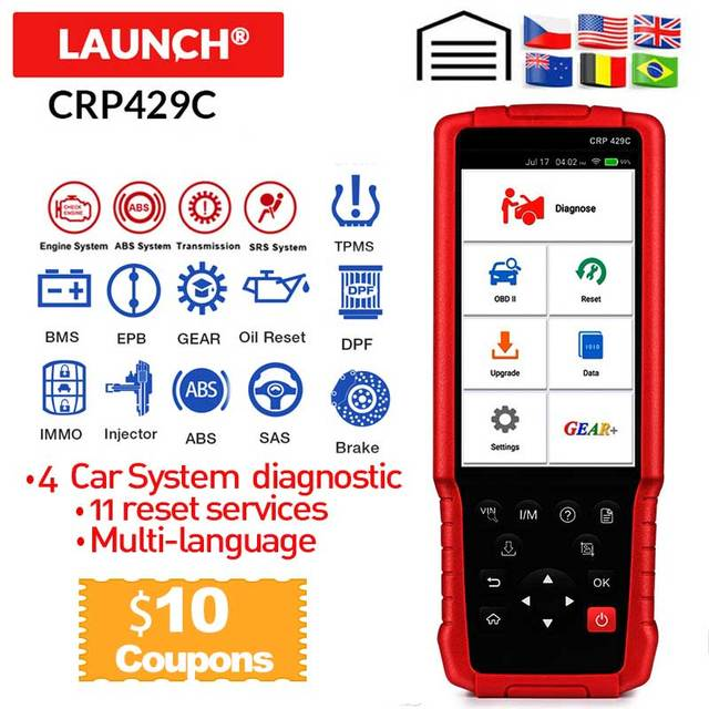 LAUNCH X431 CRP429C Auto OBD2 diagnostic tool support Engine/ABS/Airbag/AT and 11 Service CAR Code Reader PK CRP479 X431 V