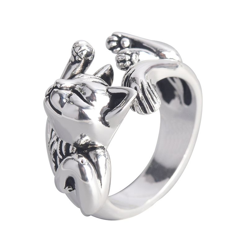 Retro neutro sono gato aberto dedo anel presente único moda animal punk anel para homens mulher ajustável dedos jóias