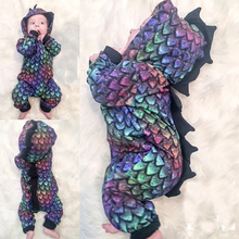 цена на Cute Toddler Baby Cosplay Clothes Spring Autumn Boys Girls Fashion Dinosaur Hooded Long-sleeved Jumpsuits Colorful Scale Rompers