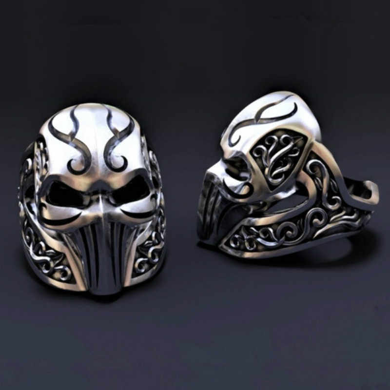 中世騎士リング男性のためのゴシックステンレス鋼アンティークマスクリングファッションパーティージュエリー