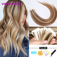 Remy Tape Hair Extensions Balayage Color Real Natural Human Hair Adhesive Hair Extensions Ombre Blonde Seamless Tape on Hair