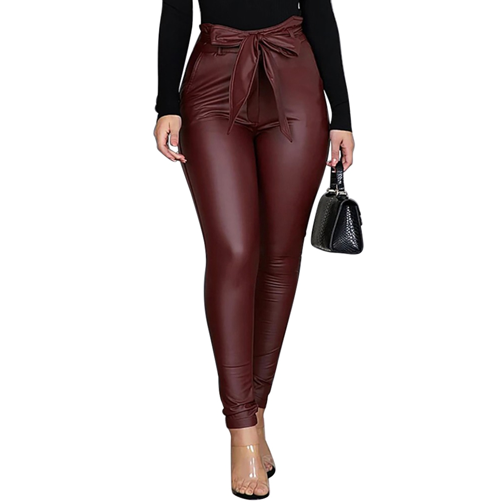 2019 Women's PU Leather Pants Stretchy Push Up Pencil Skinny Black Hollow Out Lace Patchwork Pants