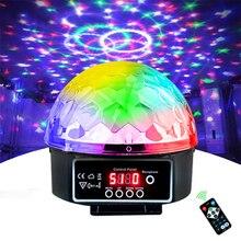 Luz de sonido LED DMX para DJ, 21 modos de Control remoto, Bola de discoteca, lámpara de discoteca, música a Color, luces de fiesta con sonido Disco