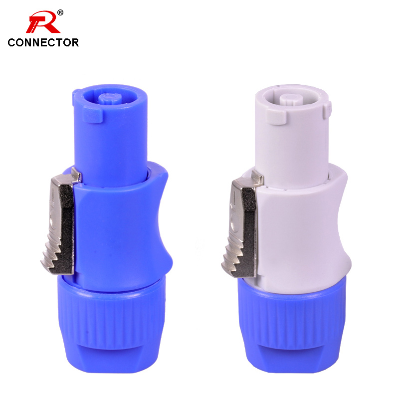 50pcs NAC3FCA NAC3FCB Power Connector, 3pins 20A 250V Power Male Plug, With CE/RoHS,Blue(Input) & Light Grey(Output)
