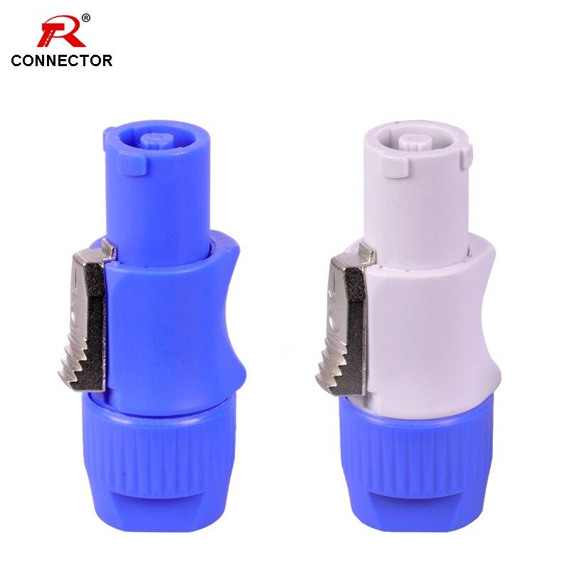 50pcs NAC3FCA NAC3FCB connecteur dalimentation, 3 broches 20A 250V prise mâle de puissance, avec CE/RoHS, bleu (entrée) et gris clair (sortie)cable 3pin3pin cableadapter connector -