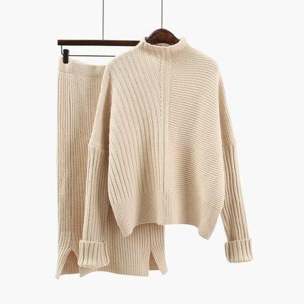 2019 Для женщин шерстяной вязаный костюм мягкий теплый костюм на весну-осень, Женский пуловер, свитер и юбка, комплект из 2 предметов, бежевый