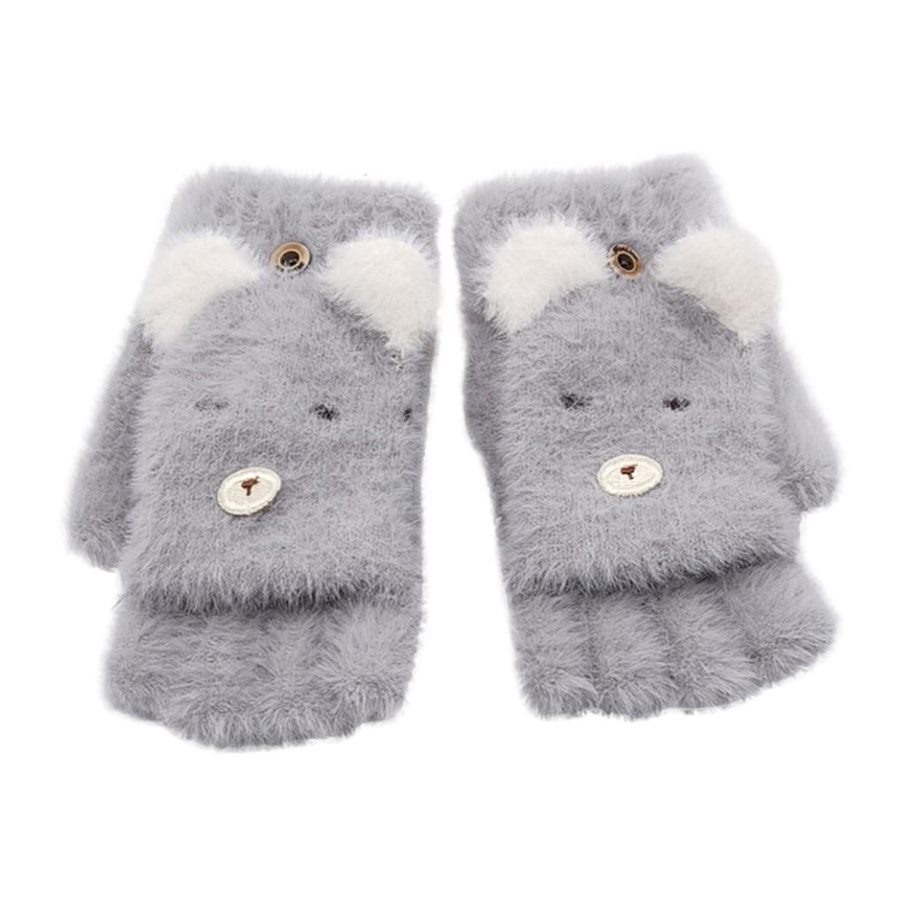 Детские зимние теплые вязаные варежки без пальцев, детские перчатки, детские перчатки для мальчиков и девочек с рисунком - Цвет: Серый