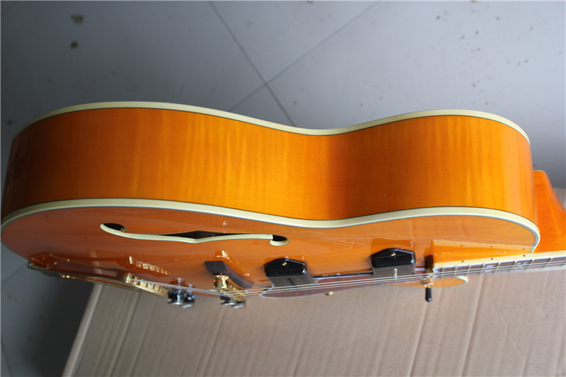 Chinese Guitar Factory Custom New Semi Hollow Body  Jazz Orange Color Electric Guitar 01