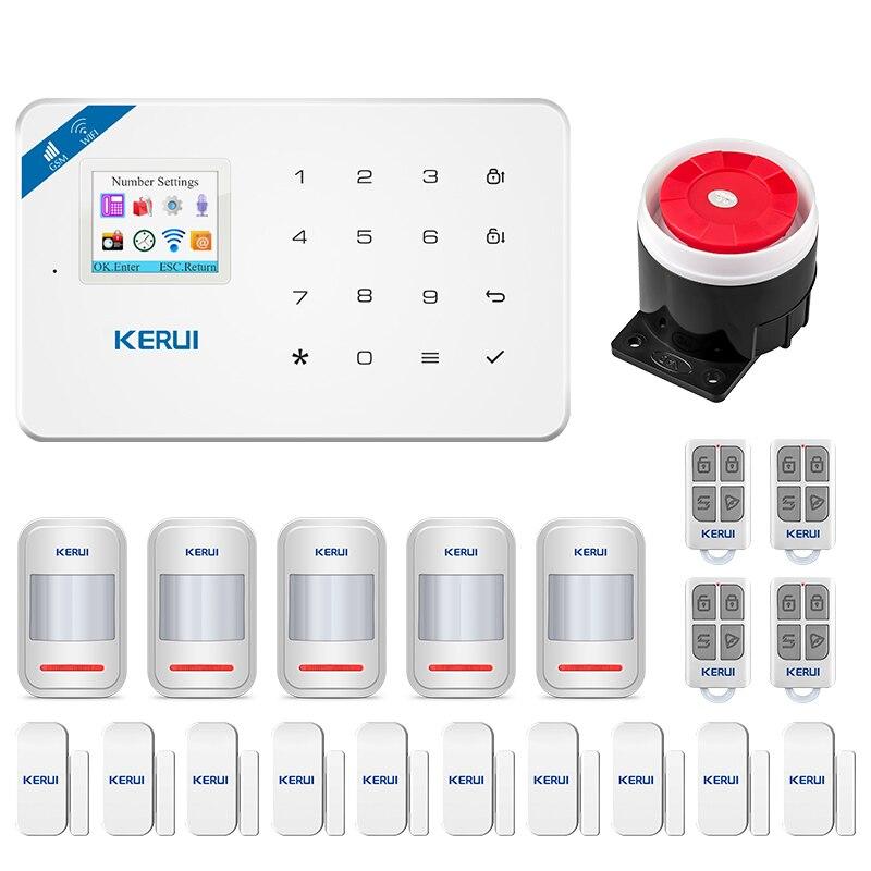 Kerui w18 wifi gsm sistema de alarme de segurança toque completo teclado app controle remoto segurança em casa sistema de alarme de movimento anti-roubo