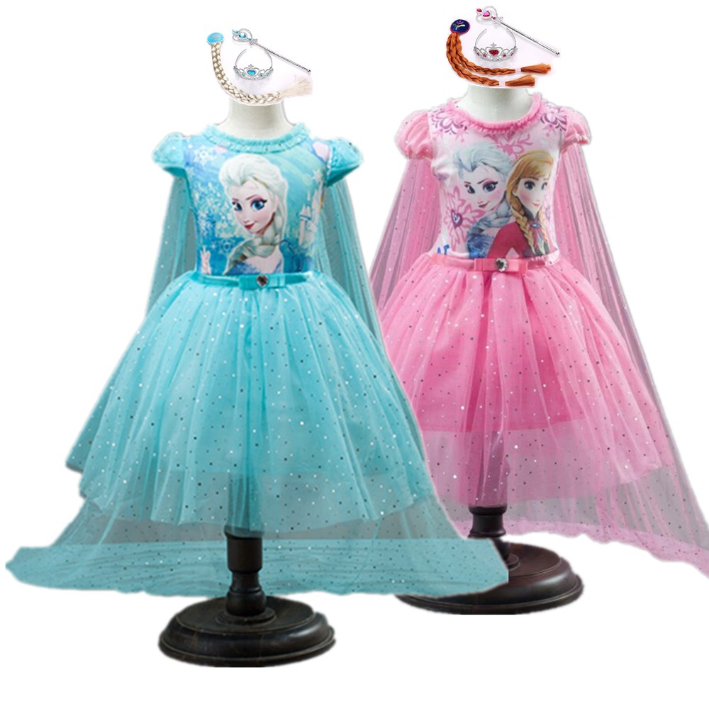 5pcs Girls Summer Dress Elsa Anna Baby Kids Clothes Girl Snow Queen Cosplay Costume Birthday Party Children Clothing Vestidos(China)