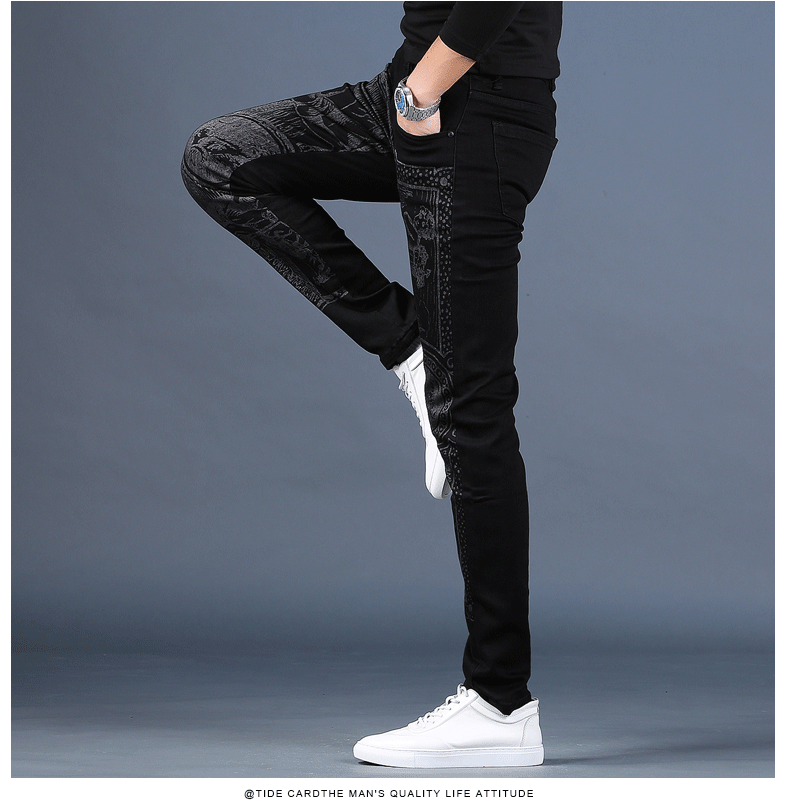 Free shipping new fashion male Men's printed plus velvet jeans thick casual slim feet pants Korean winter trousers 99% cotton 37