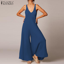 Stylish Wide Leg Jumpsuits Women's Summer Overalls ZANZEA 2020 Casual Solid V Ne
