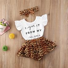 Conjunto de 3 uds. De ropa informal de algodón para bebé, traje con letras, pantalones cortos de leopardo y Diadema, para verano