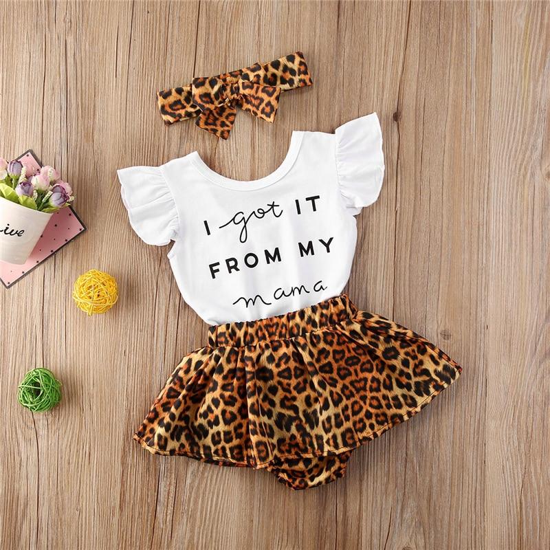 3pcs החדש קיץ פעוט תינוק תינוקת כותנה מקרית תלבושות סט מכתב בגד גוף + נמר מכנסיים קצרים + סרט חמוד תינוק בגדים
