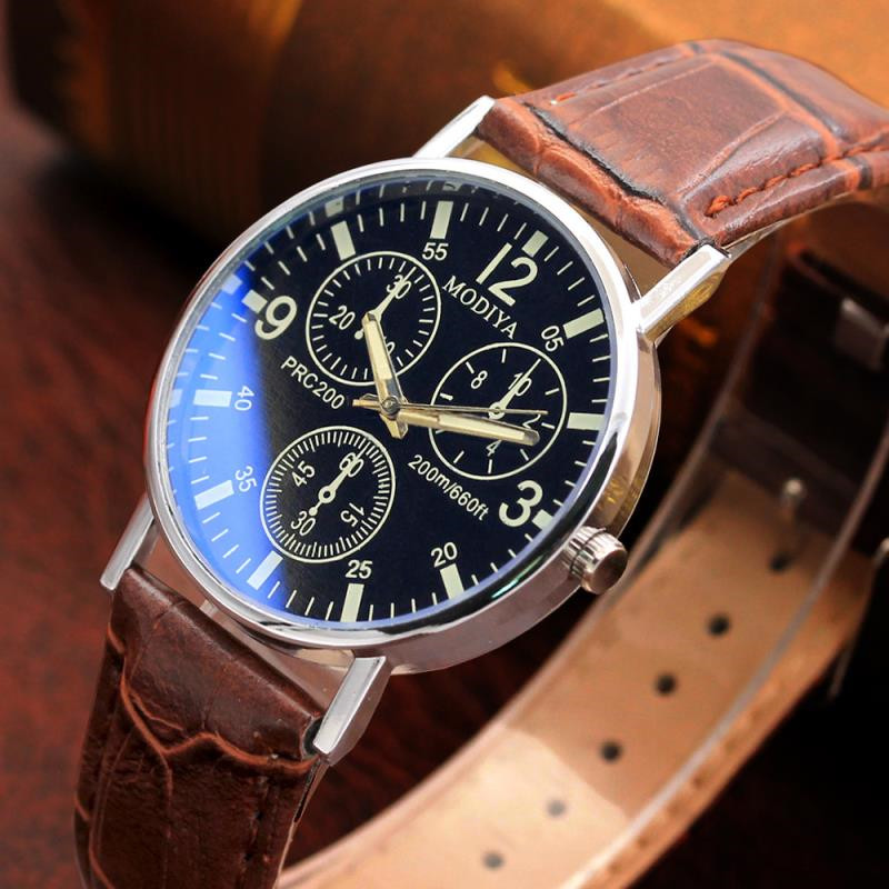 New Top Brand Luxury Mens Watches Male Clocks Sport Military Clock Blue Glass Leather Strap Quartz Business Men Watch Gift D7