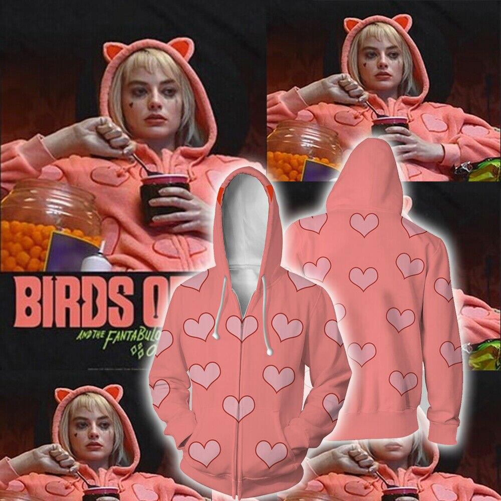 Cosplay Birds Of Prey Harley Quinn Hoodie Superhero Joker Jacket Coat Sweatshirt Pink Hoodie Harley Quinn Costume