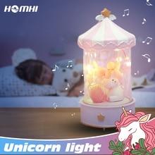يونيكورن ليلة ضوء صندوق تشغيل الموسيقى لطيف الحصان مصباح الديكور غرفة نوم الطفل صديق الشكر عيد الميلاد فتاة هدية عيد ميلاد